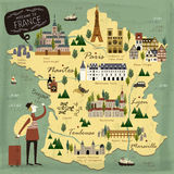 France travel concept map Royalty Free Stock Photo