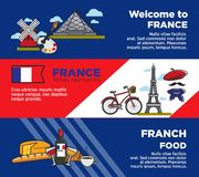 France travel destination advertisement banners with unique architecture and food. Exquisite French products, national symbols and famous buildings cartoon Royalty Free Stock Image