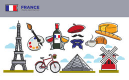 France travel destination banner with national counry symbols Royalty Free Stock Photography