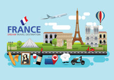 France travel dreams destination, France travel symbols, Symbols of France, landmark. France travel symbols with Eiffel Tower surrounded by famous landmarks as Stock Photos