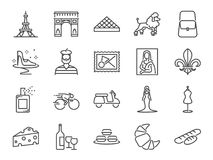 France travel icon set. Included the icons as French toast, landmarks, The Eiffel Tower, baguettes, Paris fashion, Brand name, Poo. Vector and illustration stock illustration