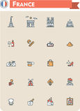 France travel icon set. Set of the France traveling related icons Royalty Free Stock Images