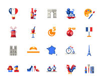 France travel icons and elements with famous French symbols Stock Image