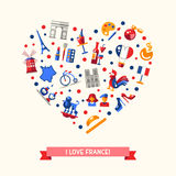France travel icons heart postcard with famous French symbols Royalty Free Stock Photography
