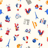 France travel icons seamless pattern with famous French symbols Royalty Free Stock Photos