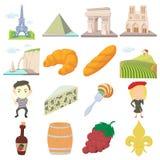 France travel icons set, cartoon style Royalty Free Stock Photos