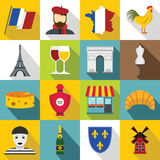 France travel icons set, flat style. France travel icons set. Flat illustration of 16 France travel vector icons for web Vector Illustration