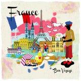 France travel impression poster. Lovely France travel impression poster with attractions Royalty Free Stock Image