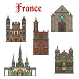 France travel landmarks vector buildings icons. France famous travel landmark buildings and architecture sightseeing facade icons. Vector set of Nancy and Stock Photos