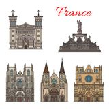 France travel landmarks vector facade buildings. France famous travel landmark buildings and architecture sightseeing facades icons. Vector set of Saint Nizier Stock Images