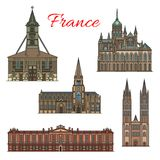 France travel landmarks vector facade buildings. France famous travel landmark buildings and architecture sightseeing facades icons. Vector set of Treguier Royalty Free Stock Image