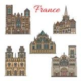 France travel landmarks vector facade buildings. France famous travel landmark buildings and architecture sightseeing facades icons. Vector set of Sainte Croix Stock Photography