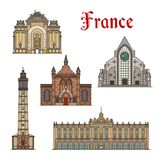 France travel landmarks vector facade buildings. France famous travel landmark buildings and Marseilles architecture sightseeing facades icons. Vector set or Stock Photography