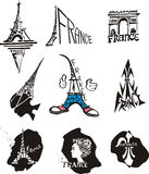 France Travel Logos. Set of original logos for travel to Paris and France. Black and white vector illustration Royalty Free Stock Images
