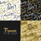 France travel love city seamless pattern gold text. Travel France Europe famous cities with handmade calligraphy. Paris city, Lyon, Toulouse, Marseille, Bordeaux Stock Images