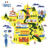 France travel map Royalty Free Stock Photography