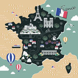 France travel map. Attractive France travel map with attractions in flat design Stock Photo