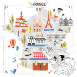 France travel map Royalty Free Stock Photos