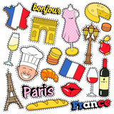 France Travel Scrapbook Stickers, Patches, Badges for Prints with Kiss, Champagne and French Elements. Comic Style Vector Doodle Stock Image