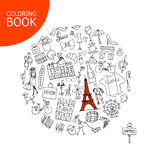 France travel, sketch. Page for your coloring book Stock Photo