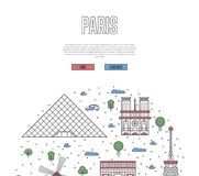 France travel tour poster in linear style stock illustration