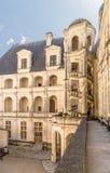 france Uma escadaria espiral no pátio do castelo de Chambord, 1519 - 1547 anos Lista de UNESCO Imagens de Stock Royalty Free