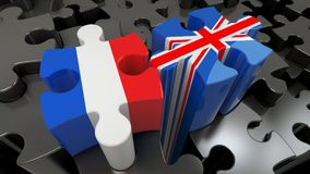 France and United Kingdom flags on puzzle pieces. Political relationship concept. 3D rendering Stock Photo