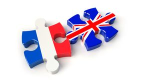 France and United Kingdom flags on puzzle pieces. Political rela Stock Photos