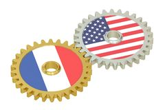 France and United States relations concept, flags on a gears. 3D Stock Images