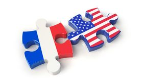 France and USA flags on puzzle pieces. Political relationship co Stock Images