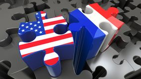 France and USA flags on puzzle pieces. Political relationship concept. 3D rendering Royalty Free Stock Photography