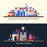 France, USA travel banners set with famous French symbols Royalty Free Stock Image