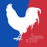 France vector illustration with French flag colors and cock. Rooster national symbol. Visit France concept nonstandard design. Bienvenue en France - Welcome to Stock Image