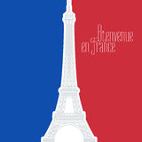 France vector illustration with French flag colors and Eiffel tower Stock Photos