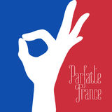 France vector illustration with French flag colors and excellent sign Stock Images