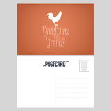 France vector postcard design with French symbol rooster Royalty Free Stock Photos