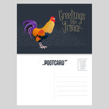 France vector postcard design with French symbol rooster vector illustration
