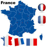 France vector set. France  set. Detailed country shape with region borders, flags and icons isolated on white background Royalty Free Stock Photography