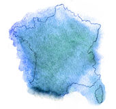 France vector watercolor map Royalty Free Stock Photography