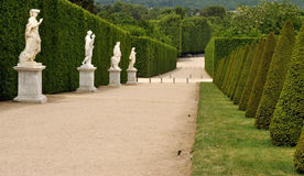 France Versailles Palace garden 2. Versailles Palace garden, statues on the path Stock Photos
