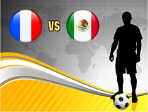 France versus Mexico on Abstract World Map Background Royalty Free Stock Images