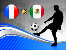 France versus Mexico on Blue Abstract World Map Background Stock Photography