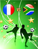 France versus South Africa on Abstract Green Stars Background Stock Photography
