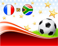 France versus South Africa on Abstract Red Background with Stars Royalty Free Stock Photos