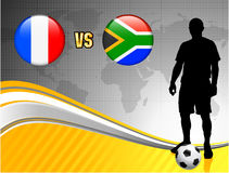 France versus South Africa on Abstract World Map Background Royalty Free Stock Images
