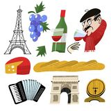 France. Vintage hand drawn postcard, vector illustration. A bottle of wine, cheese, French baguette and a bunch of grapes. A Frenchman in a black beret drinks stock illustration