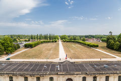 france Vista dal castello di Chambord dalla facciata principale del adiacente al parco del castello Fotografia Stock