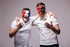 France vs Albania. Football fans of national teams friendly support before match Stock Photography