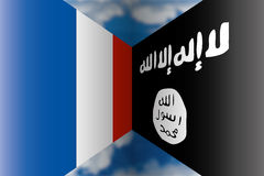 France vs isis flags Royalty Free Stock Photos