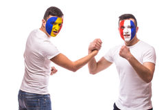 France vs Romania. Football fans of national teams friendly handshake before match Royalty Free Stock Image